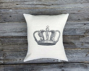 Vintage Crown Pillow Cover