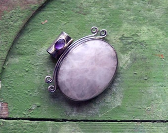 Rose quartz and amethyst sterling silver pendant