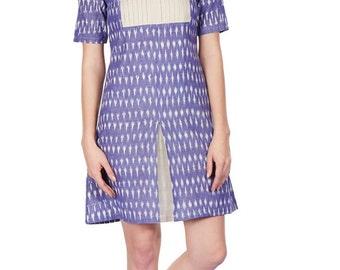 Pleated Yoke Detail Ikat Dress