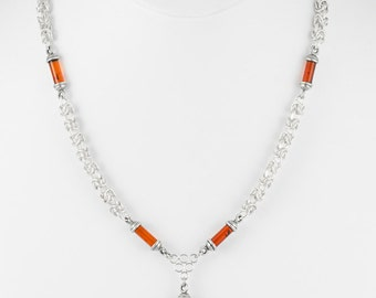 Amber Cylinders on Interwoven Silver Chain Necklace