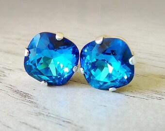Blue Earrings, Bermuda Blue Swarovski Crystal, Swarovski Crystal, Blue and Light Blue Studs, Swarovski Cushion Cut, Large Studs