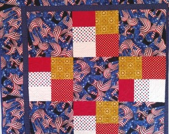 Patriotic Quilt, american quilt, Old Glory, Stars and Stripes, American Flag, red white and blue, lap quilt, bed size, july 4,fourth of july