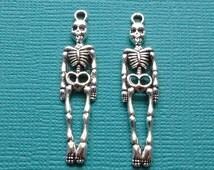 10 pc Skeleton Charm Pendant Silver - CS2404