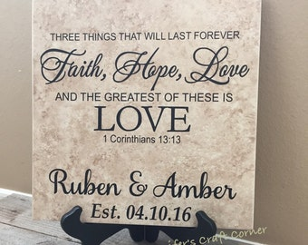 Faith Hope Love, Faith Hope Love Tile, Faith Hope Love Sign, Personalized Name Tile, 1 corinthians 13, 1 corinthians 13 sign, wedding gift