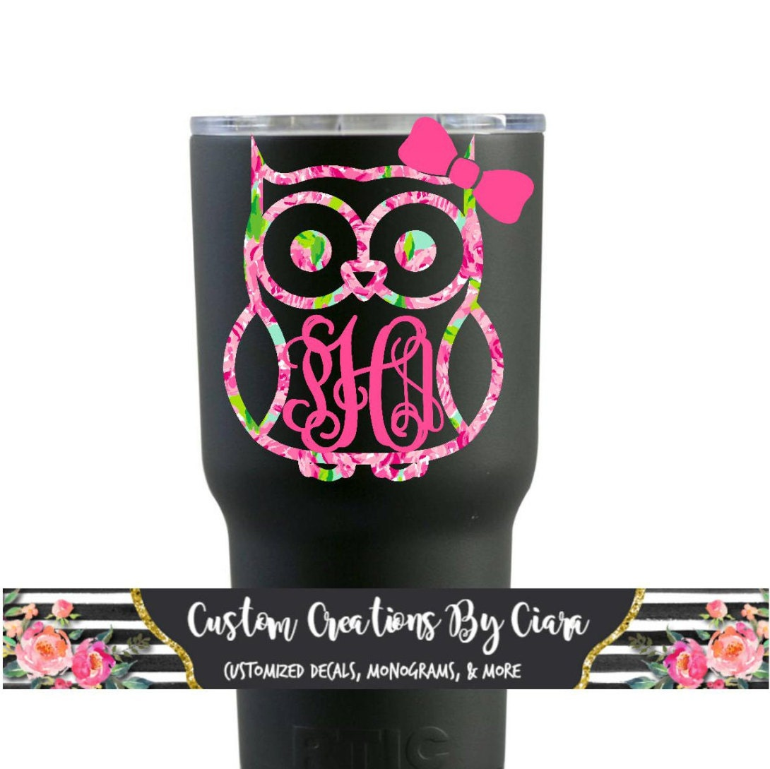Owl With Or Without Bow Monogram Decal Owl Lilly Decal Bow