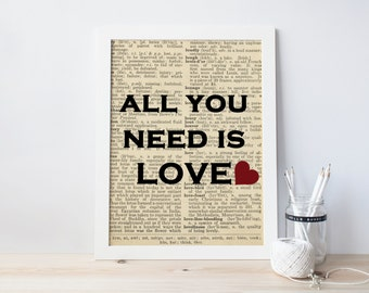 Art Print | Beatles Quote | All You Need Is Love | Vintage Paper | Typography | Love Quote
