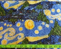 Starry Night Fabric, Vincent Van Gogh Fabric, Stary Night Fabric, Starry Night Painting, Abstract Fabric, Impressionist Art, By the Yard, FQ