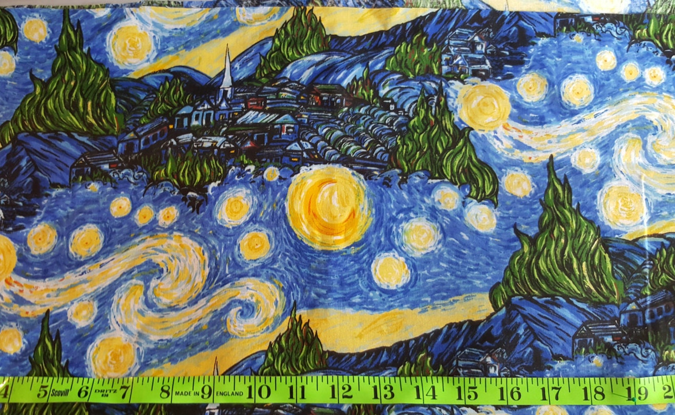 Starry Night Fabric Vincent Van Gogh Fabric Stary Night
