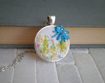 Mini Flower Garden Embroidery Necklace - Embroidered Necklace - Floral Embroidery Pendant- Flower and Insect - Embroidery Gifts Jewelry Gift