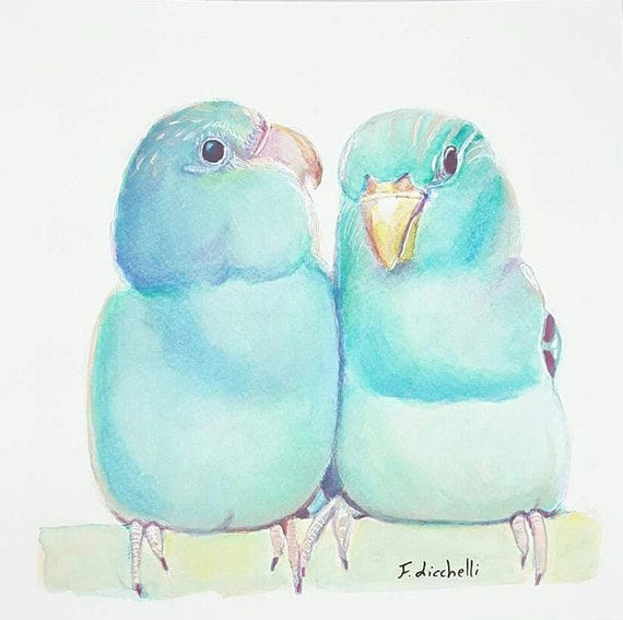 Blue birds, watercolor, original painting, OOAK, home office decoration, contemporary art, baby shower gift idea, nursery wall decore.