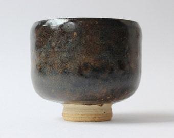 Dark Brown Unique Handmade Ceramic Chawan Tea Bowl. Ready to ship