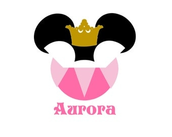 Sleeping Beauty Disney Princess Aurora Minnie Mouse Vinyl Disney World Vacation Princess Mother Daughter Disney Iron On Decal for Shirt 096