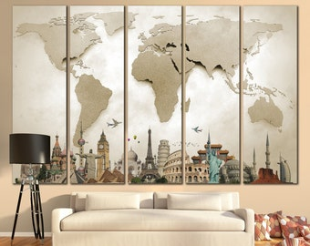 "World Map Large Print Beige World Map Big World Map Canvas Print Custom Quote Map Travel World Map Wall Art Map With Landmarks ""STRETCHED"""