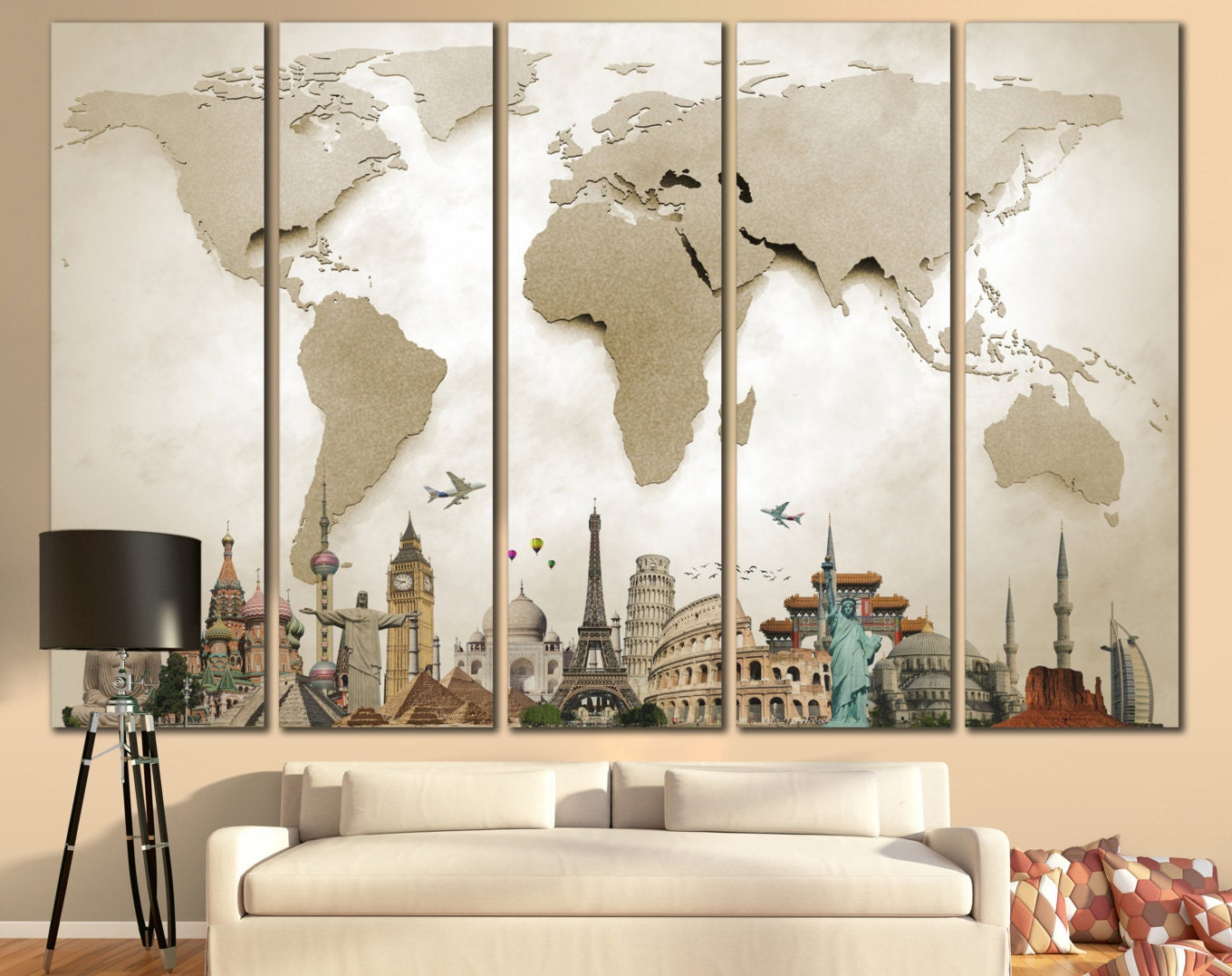 World Map Large Print Beige World Map Big World Map Canvas Print Custom  Quote Map Travel World Map Wall Art Map With Landmarks