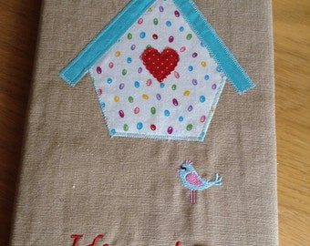 Appliquéd Birdhouse A5 Linen Textile Lined Book Cover for Ideas/Thoughts/sketches Embroidered/ buttons