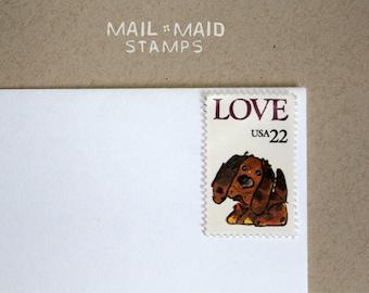 Puppy love || Set of 10 unused vintage postage stamps