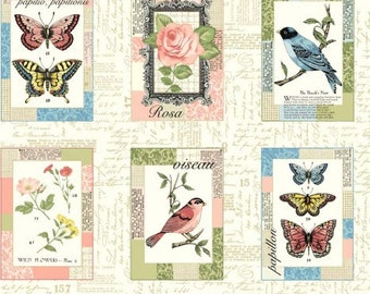 Shabby chic quilt panel - Bird fabric - Butterfly fabric - Vintage fabric - Rose fabric - Quilting fabric - Summer cotton print - Fabric UK