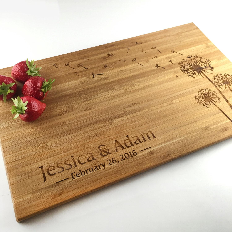 Unique Wedding Gifts Au : Cutting Board Personalized Wedding Gift Dandelion Flower