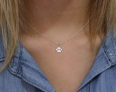 Paw Print Necklace - Sterling Silver Paw Print Necklace - Tiny Paw Print Necklace - Cat Dog Lovers Jewelry Pet Memorial Necklace Pet Jewelry