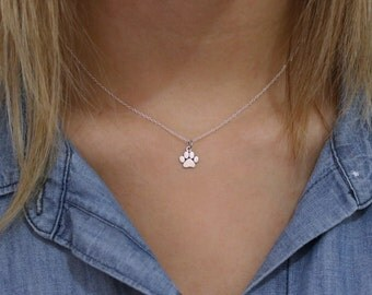 Dog lover jewelry etsy paw print necklace sterling silver paw print necklace tiny pawprint necklace cat dog aloadofball Gallery
