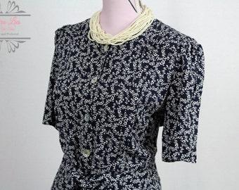 Vintage Navy Ditsy Heart Print Tie Waist Dress Size M/L