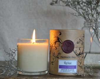 Relax - Lavender/Chamomile: Signature Collection Soy & Beeswax candle by Hemlock + Key