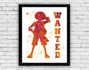 One Piece watercolor print, One Piece Wall Art, One Piece Poster