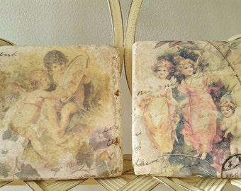 Beautiful Shabby Chic Decoupaged Angel Natural Stone Pair of Coasters with Cork Backing