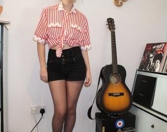 Vintage 1980's Red & White nautical MARIO ROSELLA Blouse/ Shirt (S/M)