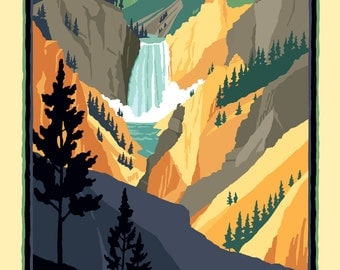 Lower Falls - Artist's Point - The Yellowstone River  - Yellowstone National Park -  Vintage Style Travel Poster