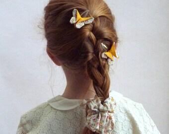 Barrette hair. Barrette Click - Clack. Clip Click Clack Yellow Butterfly hair girl