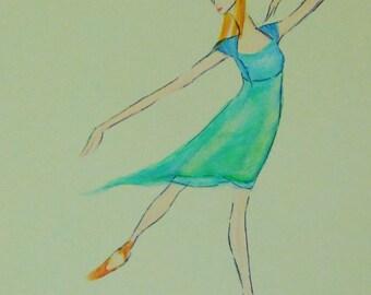"red shoes ballet dancer, watercolour print, 6"" x 4.5"""
