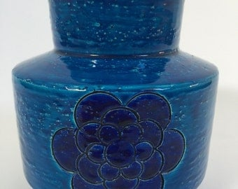 Bitossi Ceramic Vase, Blue Flower