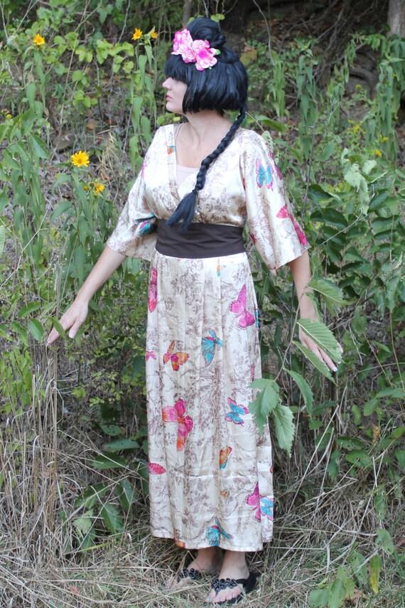 Oriental Dress, Authentic Vintage Dress Plus Bonus Flower Headband