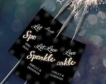 "Printable Let Love Sparkle Sparkler Send-off Cards - Black, Eight 2""x3.5"" Personalized Cards, Editable PDF, Instant Download"