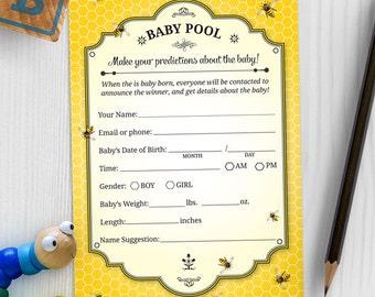 Printable Honeybee Baby Prediction Card - Yellow, Instant Download JPG