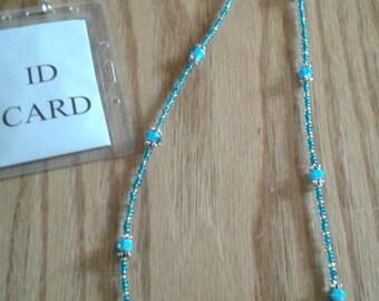 Beaded Lanyard - aqua