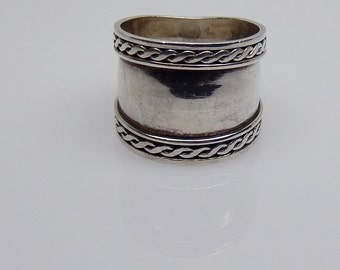 Vintage Sterling Cigar Band  Sterling Silver Wide Tapered Band with Braided Rope Edge Nautical Ring