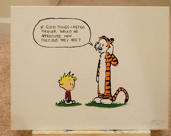Calvin and Hobbes Canvas Hand Painting