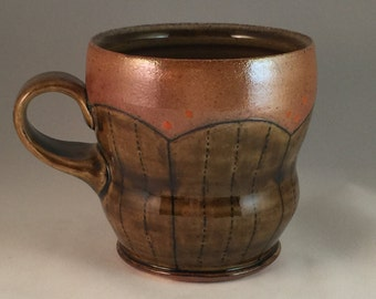 Amber Brown Soda Fired Mug Line Inlay
