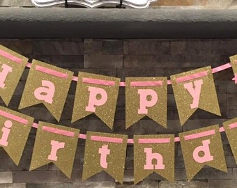 Pink and Gold Sparkle / Glitter Birthday Banner