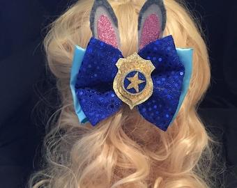 Zootopia Police Inspired Officer Judy Hopps Hair Bow