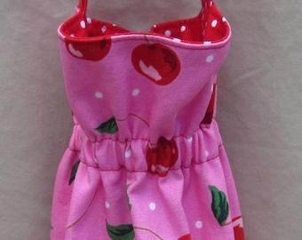 Grocery Bag Holder Trash Bag Holder Plastic Bag Holder Cherries Polkda Dots Organize Neaten Kitchens/Bathrooms/Campers Great Gift Handmade