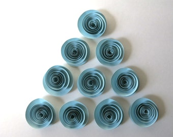 "Light blue paper flower 10 small 1.5"" Roses table decorations Bridal Shower Decor baby boy paper Flower table decoration home decor rosette"