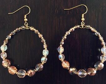 Rose Gold Glass Hoop Earring - Beaded Hoop Earring - Large Hoop