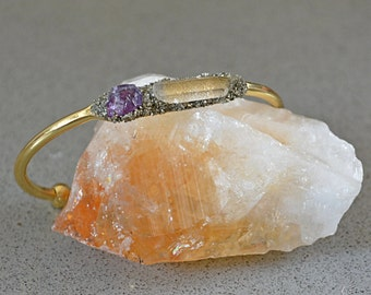 Raw Amethyst Jewelry - Gold and Silver Bracelets - Amethyst Bracelet - Amethyst Gift for Her - Cuff Bracelet - Pisces Jewelry - Pisces Gift