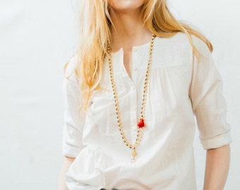Multi Strand Cream Crystal and Tassel Necklace, Two Bead Necklace Set , Cream Tassel Necklace