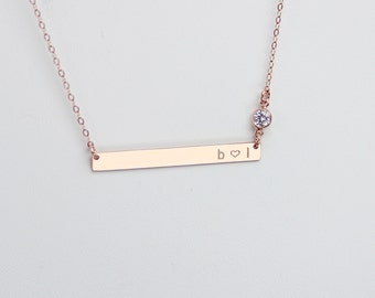 Long Bar Necklace, Personalized Engraved Nameplate Necklace, CZ Diamond Jewelry, Skinny Gold Name Bar Necklace, Quote, Meaningful Gift
