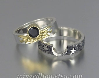 Sun and Moon ECLIPSE Engagement Ring and Wedding Band Set in 18K & 14K gold with Black Diamond