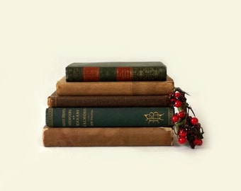 Antique Book Stack 5 Brown and Green Books Copyrights 1873-1919 Holiday Table Decor Photo Prop Instant Home Library Collection